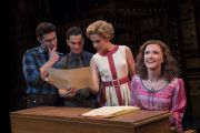 Josh Piterman (as Gerry Goffin), Mat Verevis (Barry Mann), Amy Lehpamer (Cynthia Weil) and Esther Hannaford (Carole King) in Beautiful - The Carole King Musical. Photo by Joan Marcus.