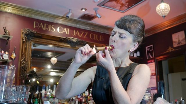 Tracey Harvey Smokin' at The Paris Cat