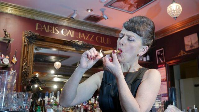 Tracey Harvey Smokin' at The Paris Cat
