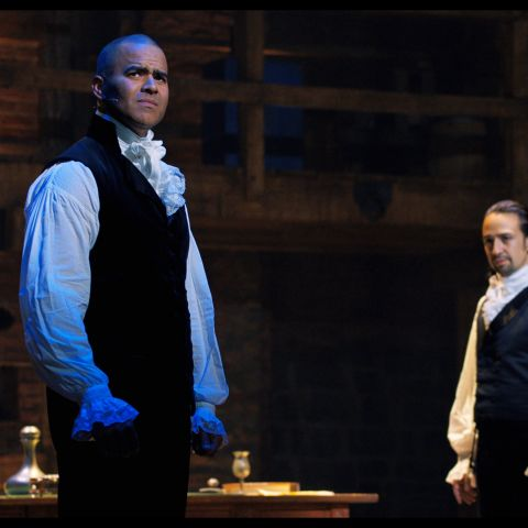 Christopher Jackson is George Washington and Lin-Manuel Miranda is Alexander Hamilton in HAMILTON, the filmed version of the original Broadway production.