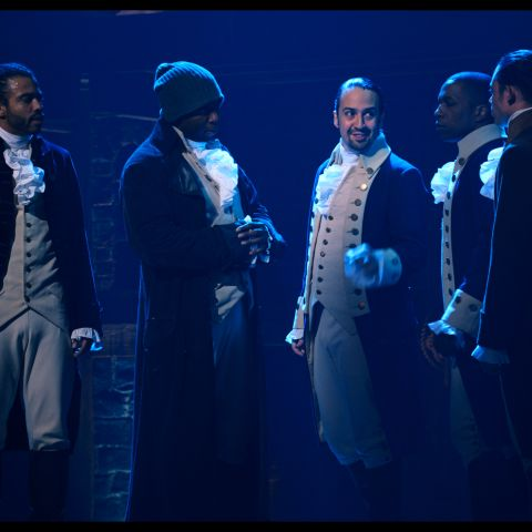 Daveed Diggs is the Marquis de Lafayette, Okieriete Onaodowan is Hercules Mulligan, Lin-Manuel Miranda is Alexander Hamilton, Leslie Odom, Jr. is Aaron Burr and Anthony Ramos is John Laurens in HAMILTON, the filmed version of the Broadway production.