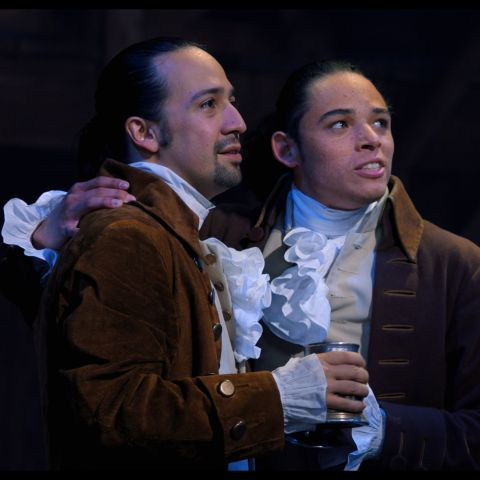 Lin-Manuel Miranda is Alexander Hamilton and Anthony Ramos is John Laurens in HAMILTON, the filmed version of the original Broadway production.
